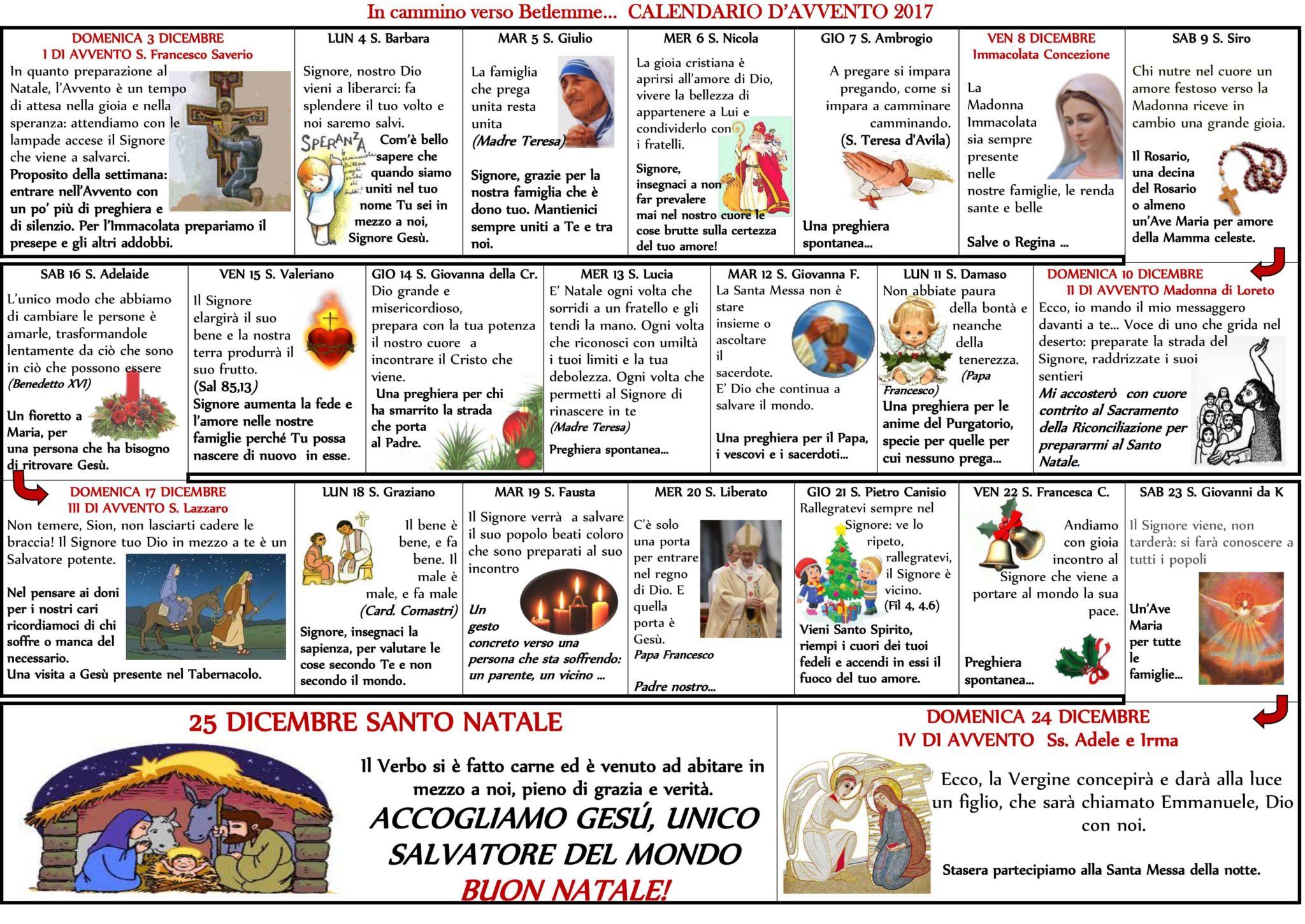 Tutti I Santi Del Calendario.Calendario Avvento 2017 Ecco I Tuoi Bambini