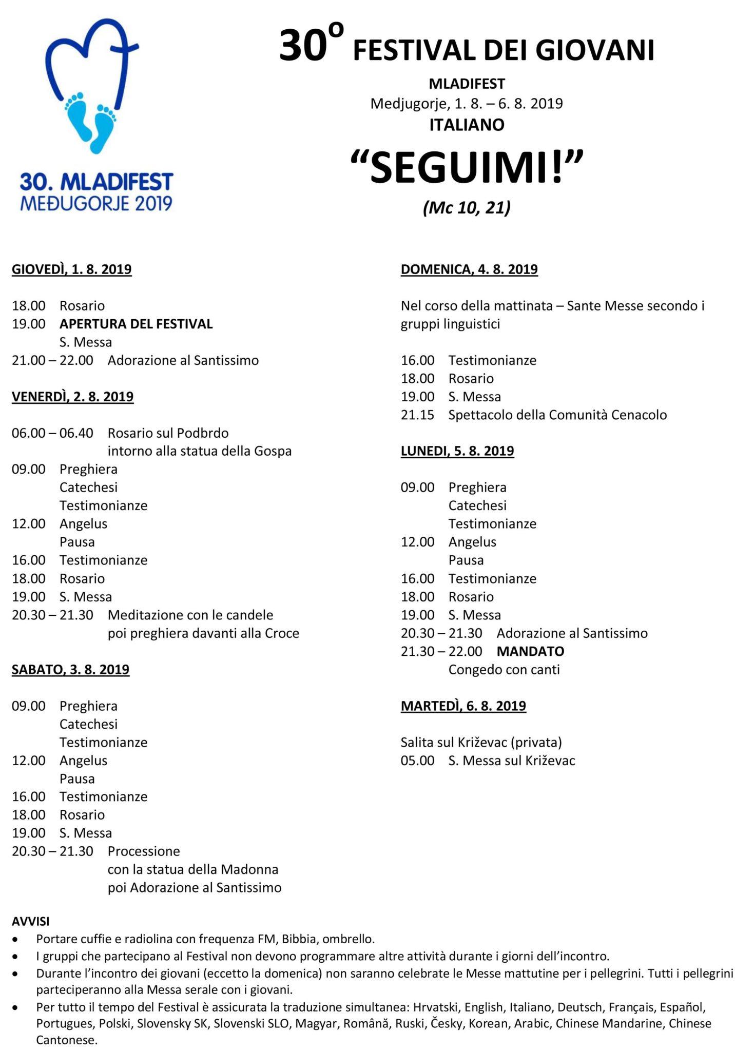 programma festival giovani medjugorje